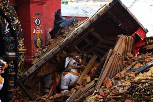 Ruins are seen after earthquake at Hanumandhoka Durbar Square in Kathmandu, Nepal, April 29, 2015. The 7.9-magnitude quake hit Nepal.