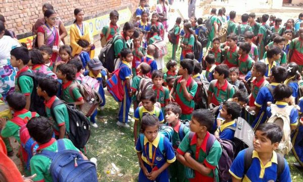 Students evacuated from a Varanasi school as tremors were felt in the city on April 25, 2015. According to the India Meteorological Department, the depth of earthquake was 10 km and measured 6 on the Richter scale in India. The US Geological Survey said the epicentre was at Lamjung in Nepal - a district some 75 km northwest of capital Kathmandu