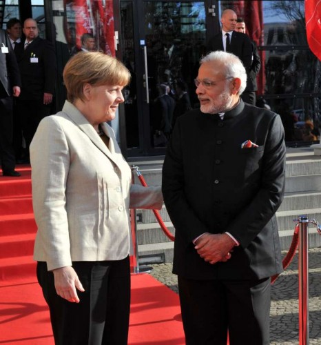Prime Minister Narendra Modi with German Chancellor Dr. Angela Merkel at Hannover Congress Centre for the Inaugural Ceremony of the Hannvoer Messe in Germany on April 12, 2015.