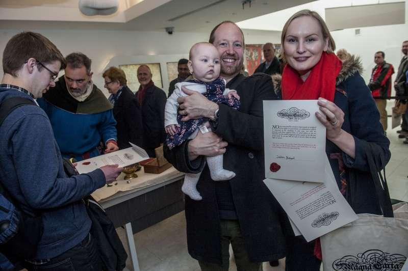Visitors at Magna Carta Unification Day at British Library in London