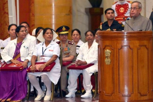 President Pranab Mukherjee addresses at the presentation ceremony of the Florence Nightingale Awards 2014 at Rashtrapati Bhavan, in New Delhi on May 12, 2015