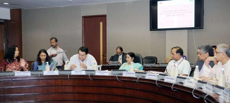 Union Minister for External Affairs and Overseas Indian Affairs Sushma Swaraj chairs the fourth meeting of the Board of Trustees India Development Foundation of Overseas Indians (IDF-OI), in New Delhi on May 23, 2015. Also seen Secretary, Ministry of Overseas Indian Affairs Sunil Soni and other dignitaries