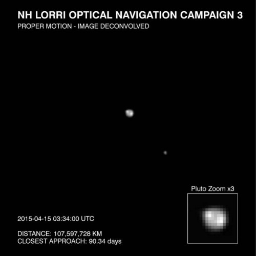 This image of Pluto and it largest moon, Charon, was taken by the Long Range Reconnaissance Imager (LORRI) on NASA's New Horizons spacecraft on April 15, 2015. The image is part of several taken between April 12-18, as the spacecraft's distance from Pluto decreased from about 69 million miles (111 million kilometers) to 64 million miles (104 million kilometers). Credits: NASA/JHU-APL/SwRI