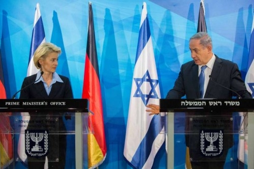 "German Defence Minister Ursula von der Leyen (L) and Israeli Prime Minister Benjamin Netanyahu attend a joint press conference at the Prime Minister's Office in Jerusalem, on May 12, 2015. Israeli Prime Minister Benjamin Netanyahu expressed his appreciation to Germany for its ""commitment to Israel's security"" in a joint press conference Tuesday afternoon with visiting German Defense Minister Ursula Von Der Leyen."