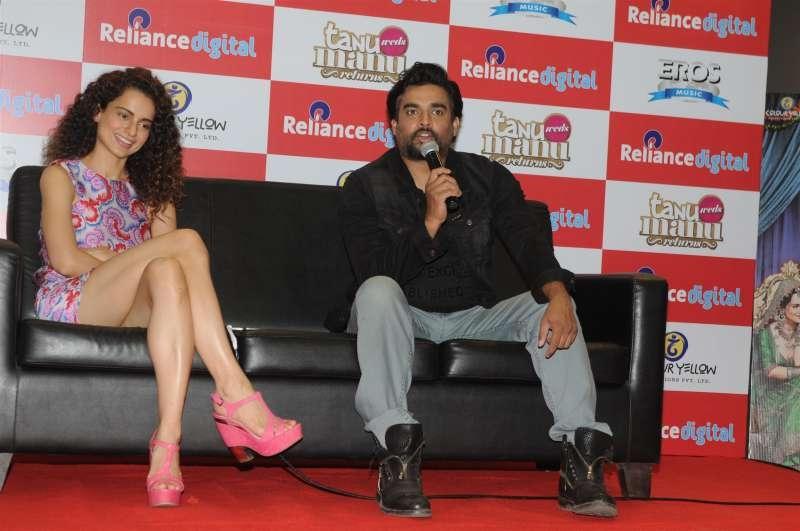 Actress Kangana Ranaut and R Madhavan during the promotion of the movie Tanu Weds Manu Returns, in Mumbai