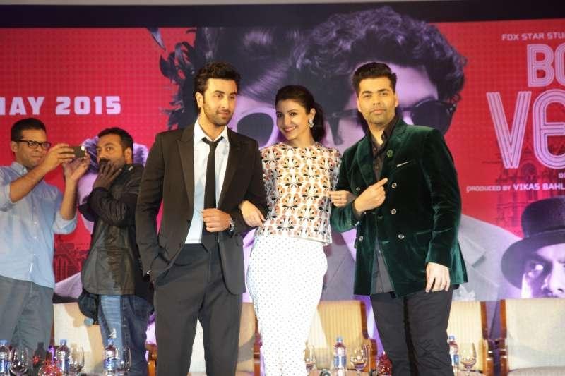 Ranbir Kapoor, Anushka Sharma and Karan Johar
