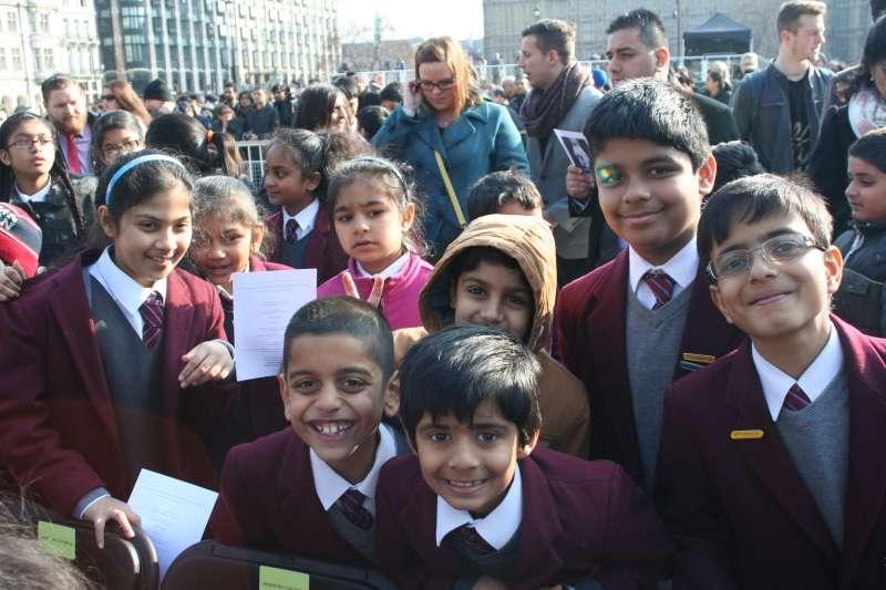 British children at an event in London