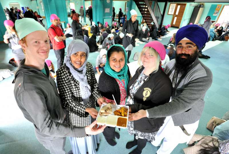 Volunteers joining the Langar activities in Leicester