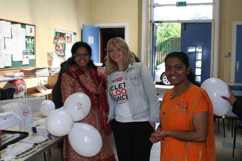 Upahaar volunteers Dr Sauda and Shilpa Shaji with with Delete Blood Cancer's Caroline Portlock