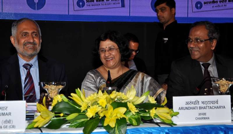 SBI chairman Arundhati Bhattacharya during a programme organised to announce SBI financial results for the period 2014-15 in Kolkata