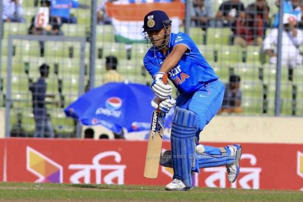 Indian skipper MS Dhoni in action during the 2nd ODI match between India and Bangladesh at Shere Bangla National Stadium in Mirpur, Dhaka, Bangladesh on June 21, 2015.