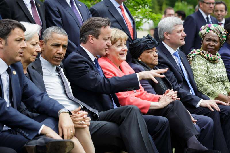 German Chancellor Angela Merkel (4th R), British Prime Minister David Cameron (4th L) and U.S. President Barack Obama (3rd L) are seen during the G7 summit at the Elmau Castle near Garmisch-Partenkirchen, southern Germany, on June 8, 2015. G7 summit concluded here on June 8.