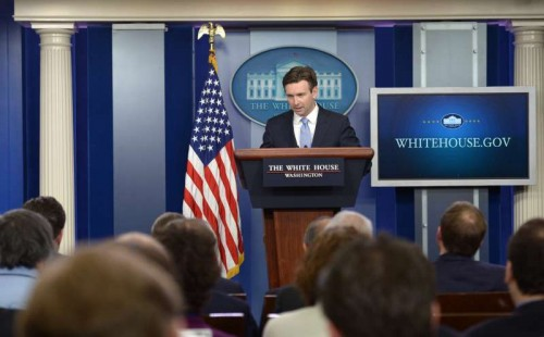 White House spokesman Josh Earnest speaks during a briefing at the White House in Washington D.C.