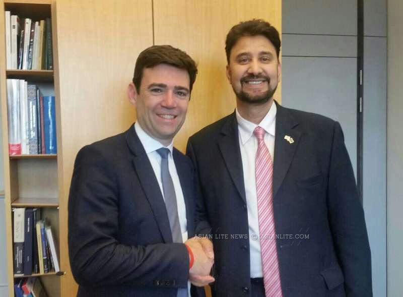 Afzal Khan MEP with Labour Leadership Candidate Andy Burnham MP