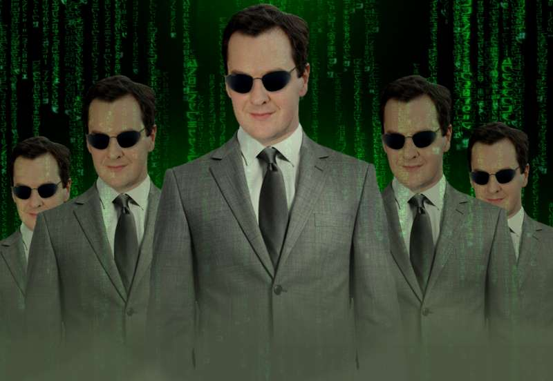 Chancellor George Osborne in Matrix attire