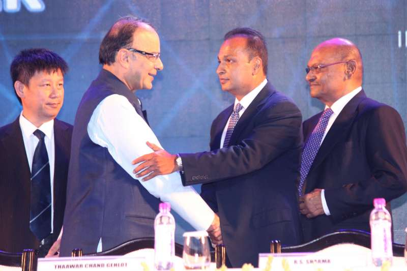 Anil Ambani with Indian Finance Minister Arun Jaitley (File)