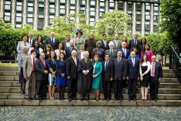 Speaker John Bercow and Lord Speaker Lord Speaker join a photoshoot at Houses of Parliament with all the black and minority ethnic Members of Parliament and Members of the House of Lords for the cover of the book