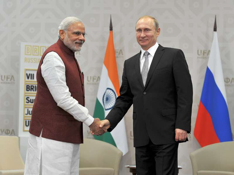 Prime Minister Narendra Modi with President of Russian Federation Mr. Vladimir Putin at Congress Hall, in Ufa, Russia