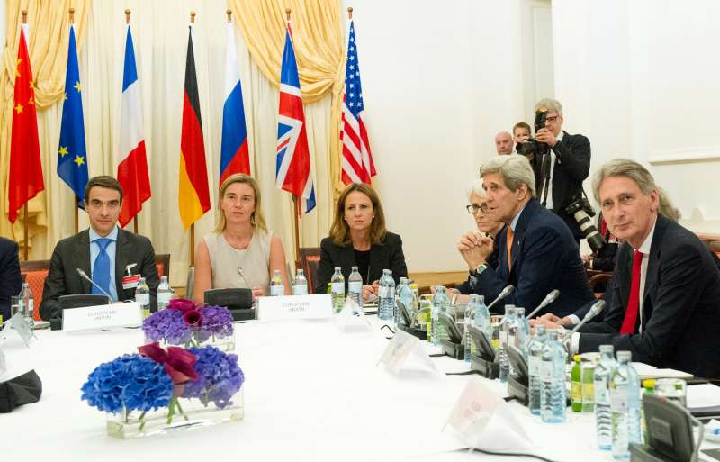 Delegates from the EU and P5+1, the five UN Security Council permanent members plus Germany, attend a meeting on the sidelines of the nuclear talks between Iran and world powers in Vienna, capital of Austria