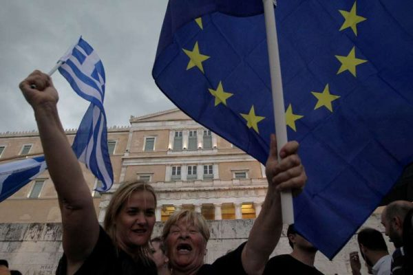 "Thousands of Greeks take part in a rally to urge voters to say ""Yes"" in the July 5 referendum in Athens, Greece, on June 30, 2015."