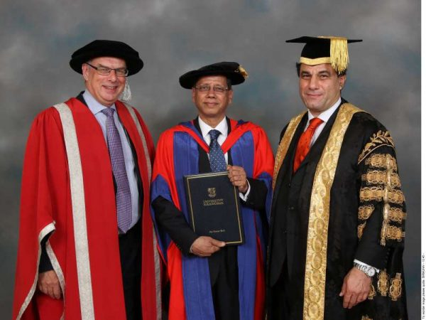 Lord Karan Billimoria and Chancellor with Dr Seth