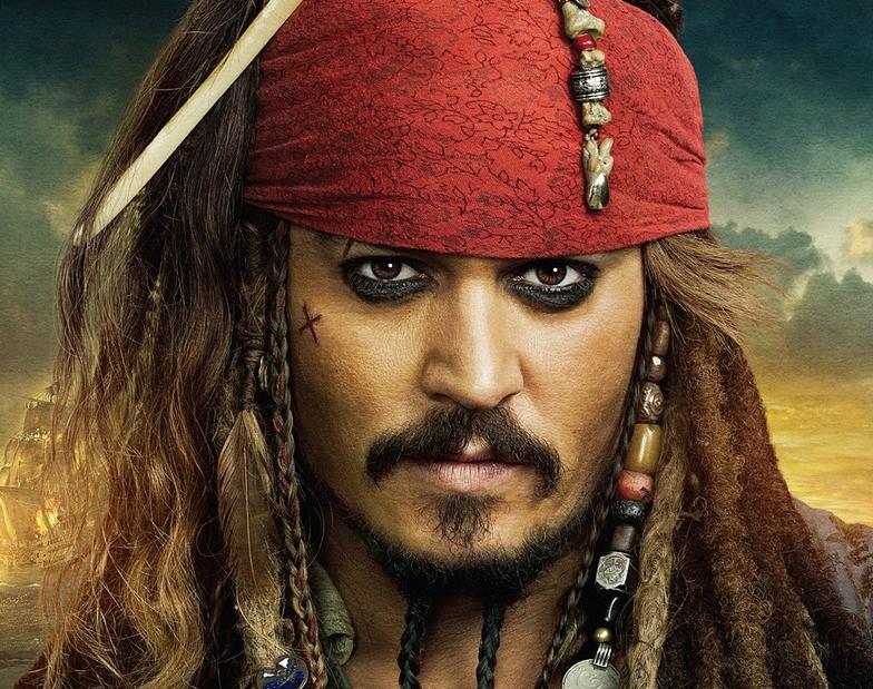 Johny Depp as alcoholic Captain Jack Sparrow