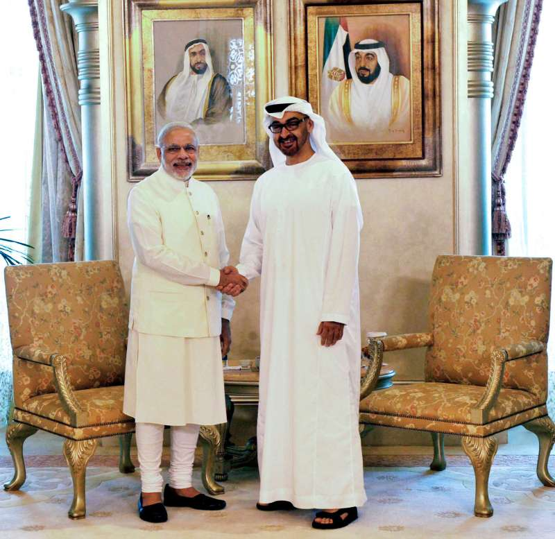 PM Modi with the Crown Prince of Abu Dhabi, His Highness Sheikh Mohammed bin Zayed Al Nahyan  in Abu Dhabi,