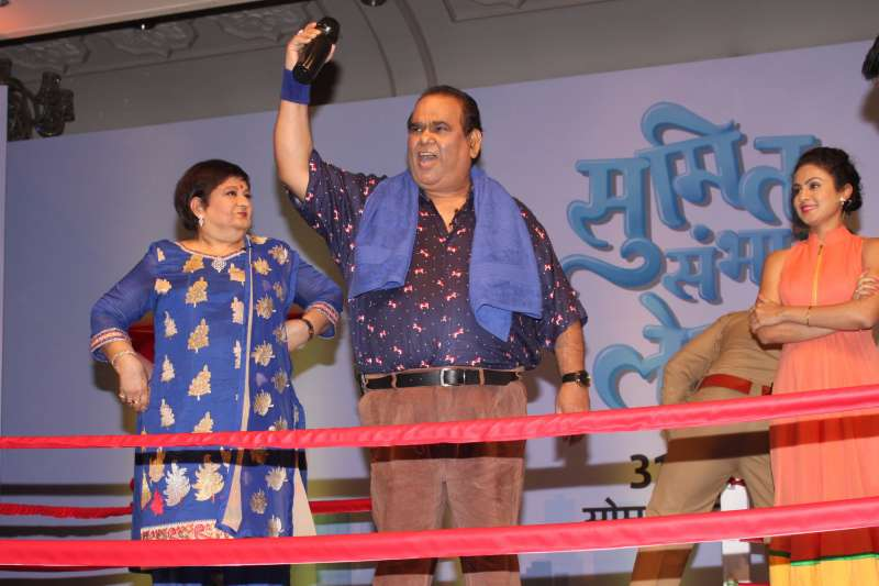 Star Plus promote the upcoming show `Sumit Sambhal Lega`, in New Delhi, on Aug 18, 2015. Sumit Walia is being played by Namit Das, Manasi Parekh will be seen essaying the role of Maya, his overbearing wife. Joining them is veteran actress Bharati Achrekar as Dolly Walia, Sumit's nosy mother. The character of Sumit's jealous brother, Rajneesh Walia, will be played by actor Vikram Kochhar. Playing Jasbir Walia, head of the family and Sumit's gluttonous father is Satish Kaushik. The show will go on air on August 31