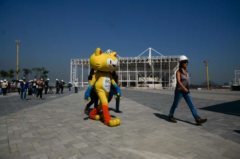 The mascot of the Olympic Games in Rio 2016, Vinicius, makes a tour at the Olympic Park in Barra Tijuca, in Rio de Janeiro, Brazil