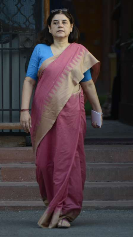 Union Women and Child Development (WCD) Minister Maneka Gandhi comes out after a cabinet meeting at South Block in New Delhi