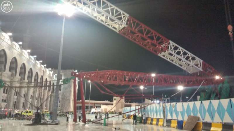 Photo taken on Sept. 11, 2015 shows the collapsed crane at the Grand Mosque in Saudi Arabia's holy city of Mecca. 87 pilgrims were killed and 201 others were injured when a crane fell on the grand mosque in Mecca, Saudi Arabia's Civil Defence authority said Friday. Al Arabiya Television earlier said the crane had fallen because of strong storms. Saudi Arabia has been hit by strong sand storms in the last few days.