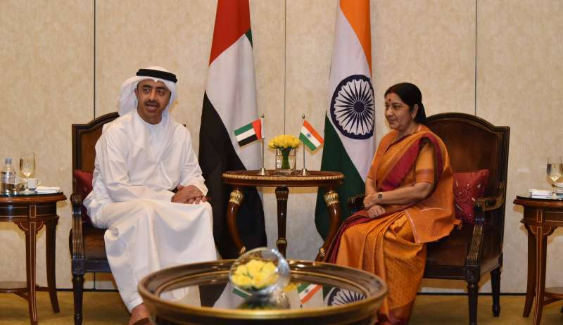 External Affairs Minister Sushma Swaraj meets Sheikh Abdullah Bin Zayed Al-Nahyan, Minister of Foreign Affairs of United Arab Emirates in New Delhi