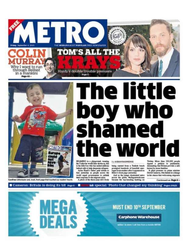 The tragic death of 3-year-old Aylan Kurdi grabs British front pages