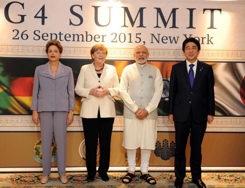 Modi at G-4 Summit in New York with German Chancellor Angela Merkel, Japanese PM Shinzo Abe and Brazilian President Dilma Rousseff