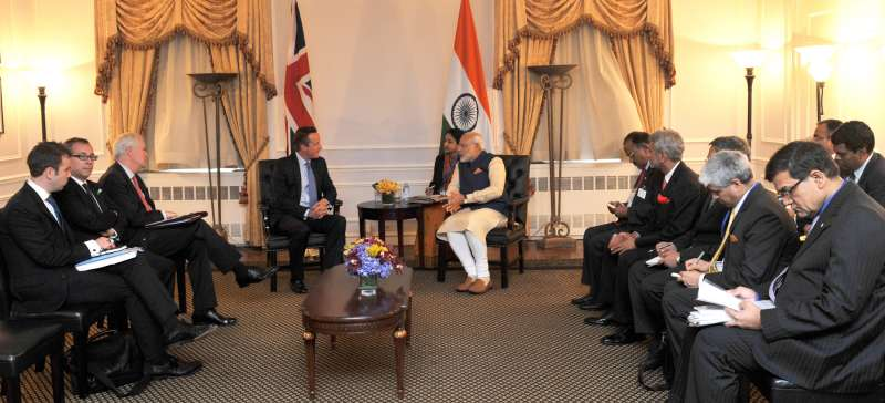 British Prime Minister David Cameroon with Modi at New York