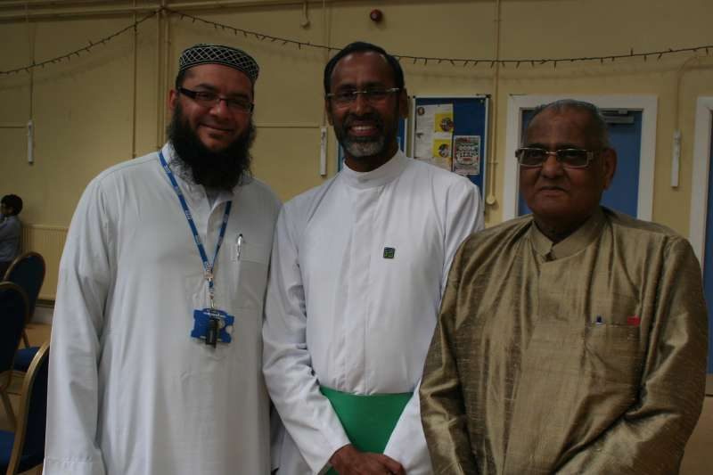 Father Davis Chiramel, the Kidney Priest from India, with Dr Ashit Sinha, Manchester Hindu Forum and Imam Sidiq Diwan during the launch of Upahaar, a new charity to promote organ and stem cell donation among South Asian communities
