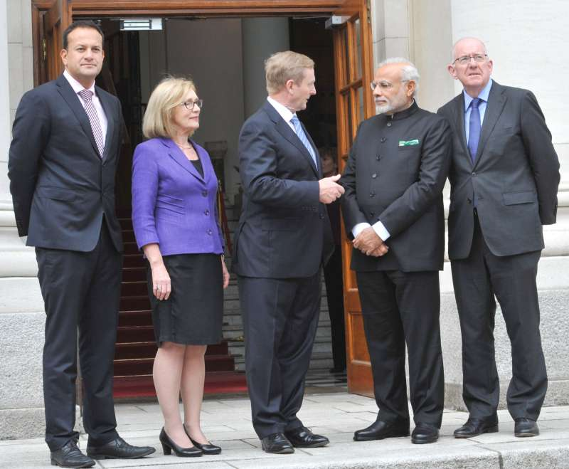 Indian Prime Minister Mr Narendra Modi with the Prime Minister of Ireland, Mr. Enda Kenny, at Government Buildings, Dublin