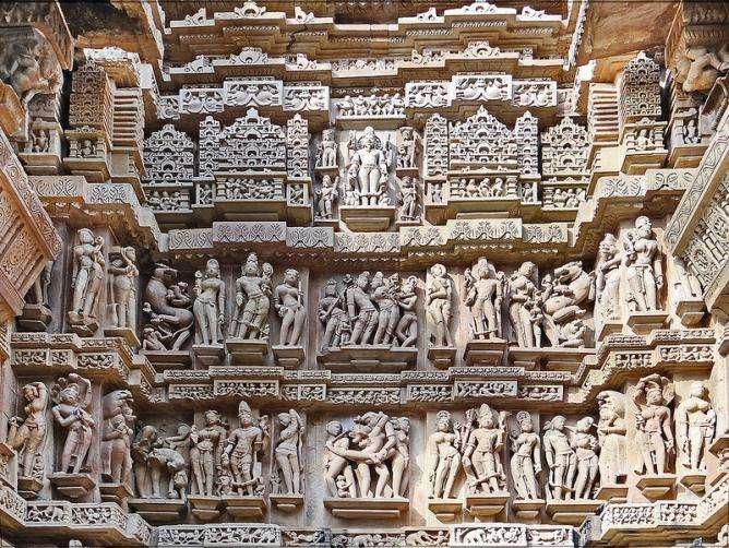 Elaborate stone carvings at Khajuraho temple