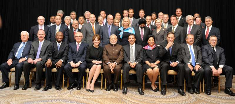 Modi in a group photograph with the leading Fortune 500 CEOs in New York
