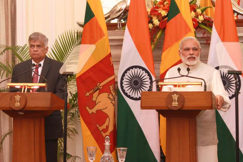 Prime Minister Narendra Modi and Sri Lankan Prime Minister Ranil Wickremesinghe during a joint press conference at Hyderabad House, in New Delhi