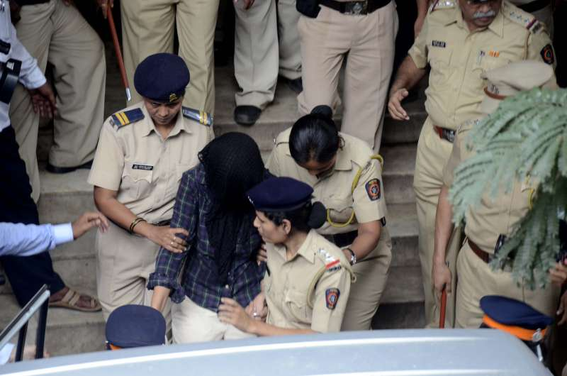 : Indrani Mukherjea, suspected accused in Sheena Bora murder case after being produced at a Mumbai Court