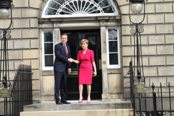 British Prime Minister David Cameron (Left) shakes hands with Scottish First Minister Nicola Sturgeon at the Scottish First Minister's official residence Bute House in Edinburgh  (File)