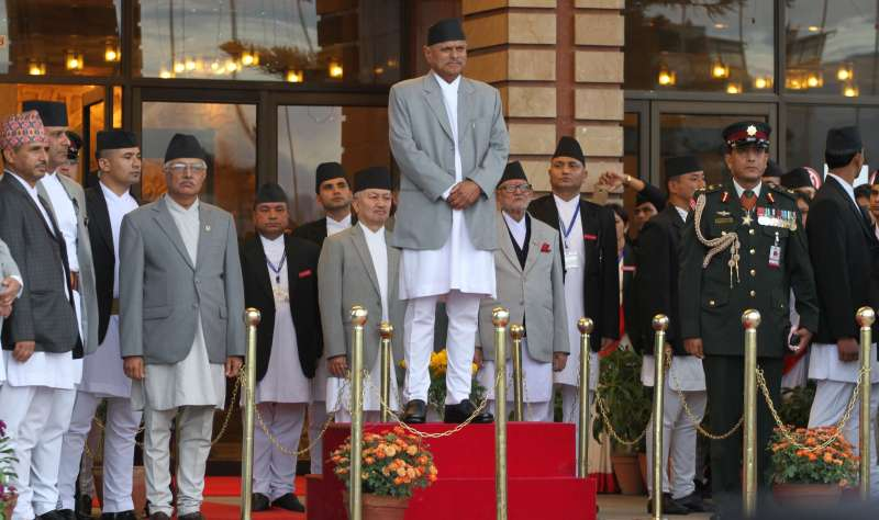 Nepali President Ram Baran Yadav (C) inspects an honor guard before the unveiling of new constitution in Kathmandu, Nepal, Sept. 20, 2015. Nepal formally adopted a new constitution on Sunday, the first full-fledged one in the Himalayan nation after it became a democratic republic in 2008