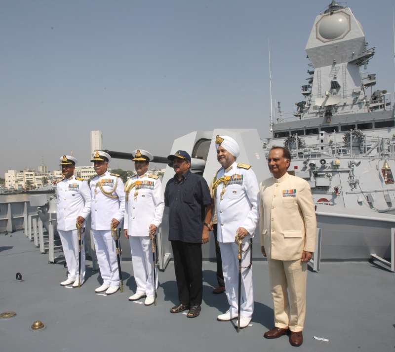 Union Minister for Defence Mr Manohar Parrikar commissioning the INS Kochi , at Naval Dockyard, in Mumbai