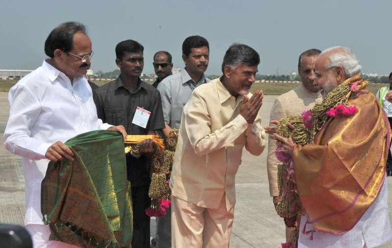 Chief Minister Chandrababu Naidu welcomes Modi