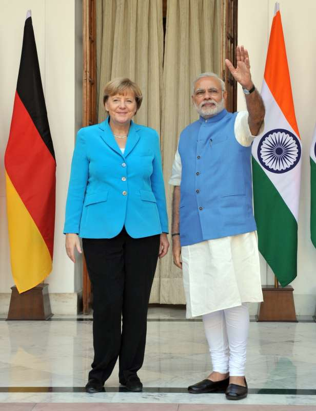 Modi with German Chancellor Dr. Angela Merkel at Hyderabad House in New Delhi