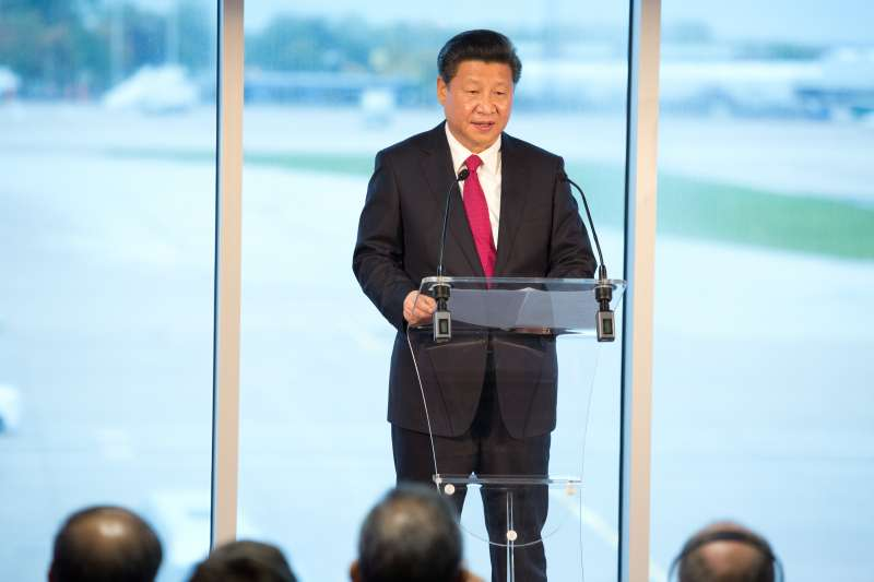 President Xi Jinping addresses the crowds at Manchester Airport