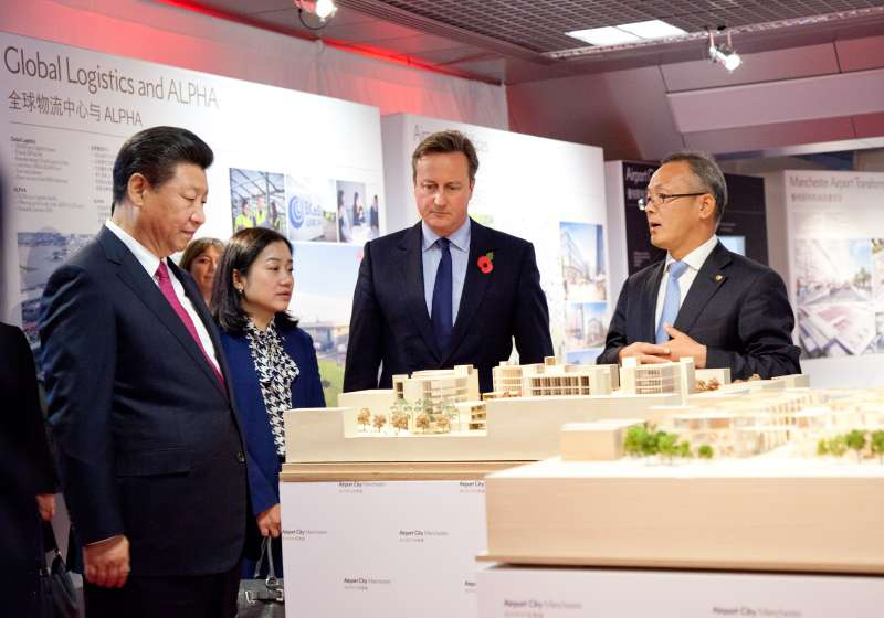 President Xi Jinping at David Cameron inspect models of the Airport City Manchester China Cluster