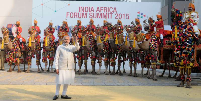 Prime Minister Mr Narendra Modi at the alighting point for leaders to receive the heads of delegations, during 3rd India Africa Forum Summit 2015, in New Delhi