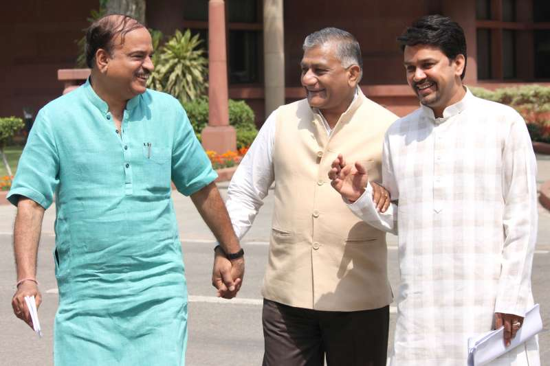 Former Indian Army Chief VK Singh (centre) arrives at Parliament (File)